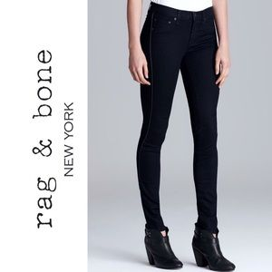 Rag & Bone Mid Rise Skinny Jeans with Leather Trim